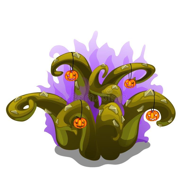 Planta místico com espinhos e abóboras, Dia das Bruxas ilustração royalty free