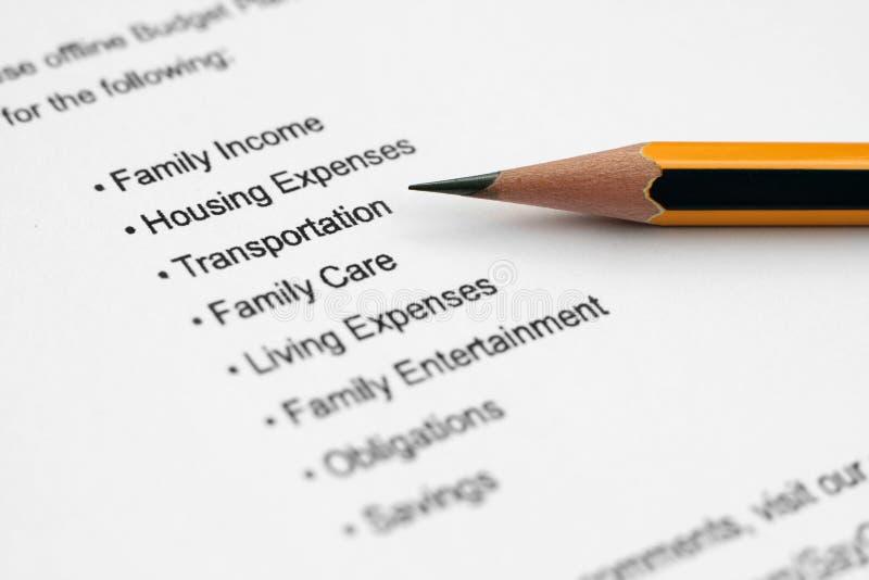 Planta mensal do orçamento fotografia de stock royalty free