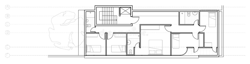 Planta moderna do segundo andar da casa ilustração royalty free