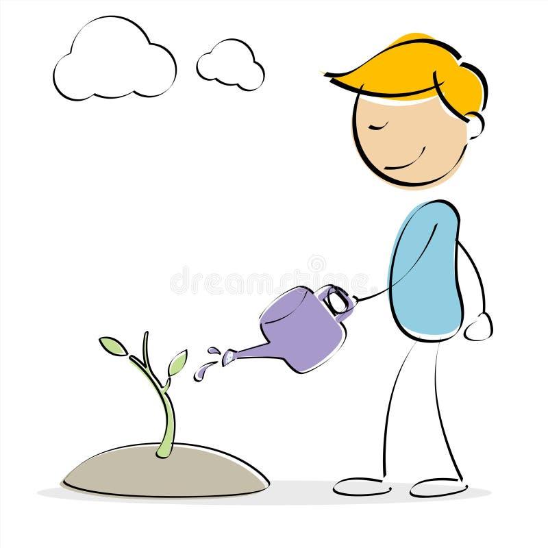 Planta molhando do miúdo do vetor ilustração do vetor