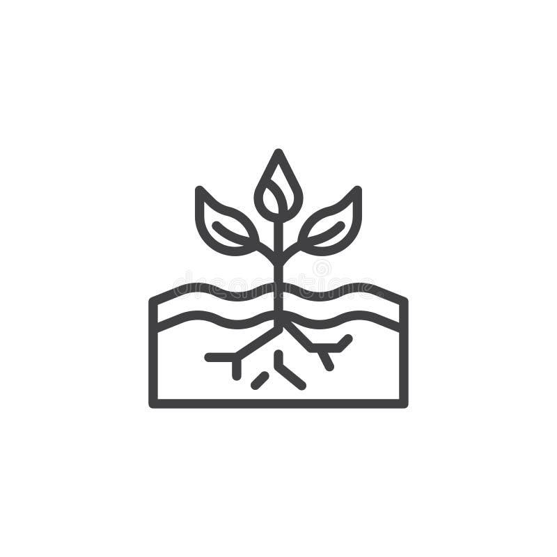 Planta no ícone do esboço do solo ilustração stock