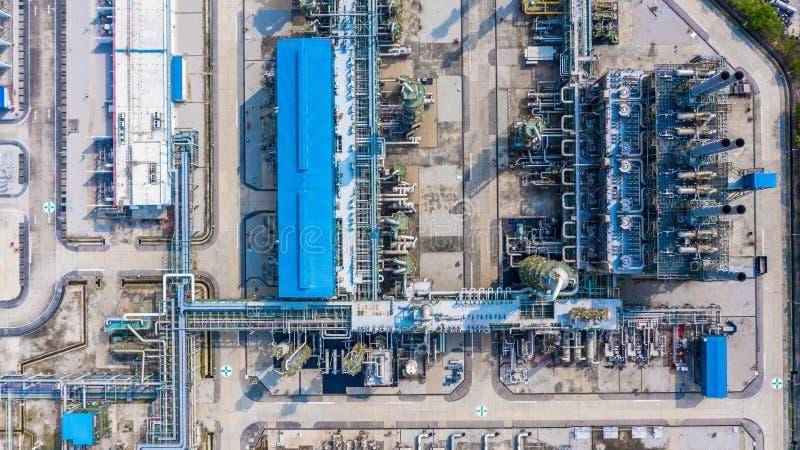 Planta no parque industrial, indústria do polietileno do polietileno da vista aérea fotografia de stock