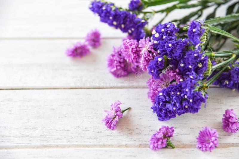 Planta púrpura de la margarita de la flor de la primavera fresca y de la composición del marco de las flores del statice en el fo fotos de archivo