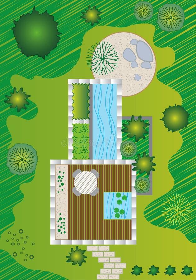 Planta/paisagem e projeto do jardim ilustração stock