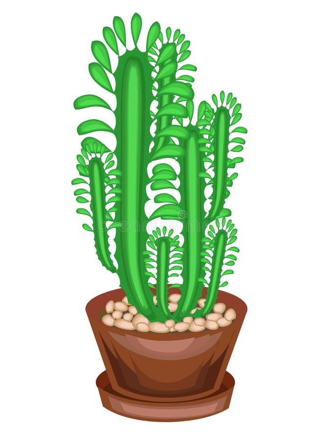 Planta Potted en un crisol Algunos verdes de las ramas de un suculento, un cactus Altos troncos verticales con facetas y espinas  ilustración del vector