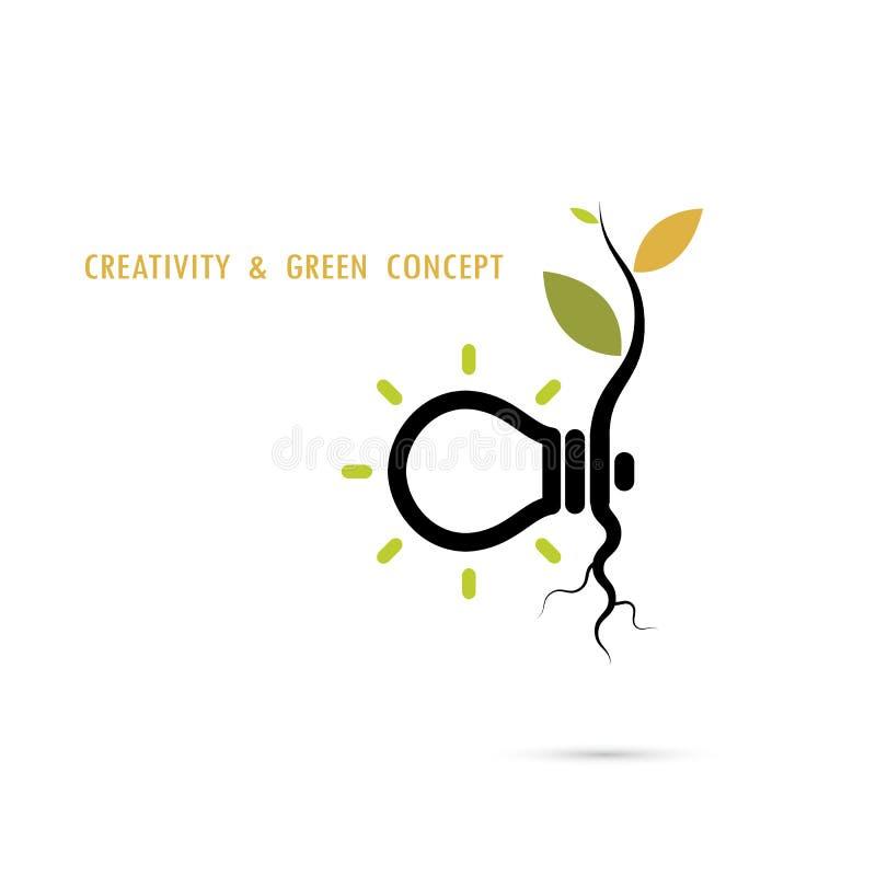 Planta que crece dentro del logotipo de la bombilla ilustración del vector
