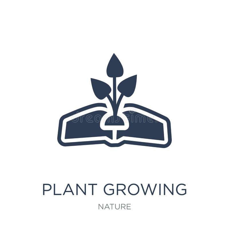 planta que cresce no ícone do livro Planta lisa na moda do vetor que cresce sobre ilustração stock