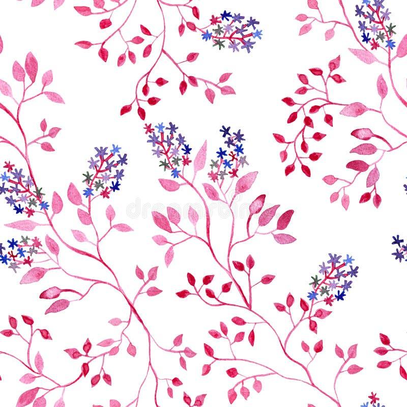 Planta rosada con las flores, pintura de la acuarela - modelo inconsútil de la rama en el fondo blanco ilustración del vector