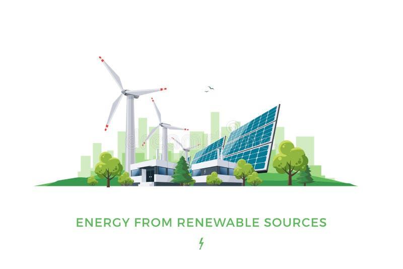 Planta solar e de energias eólicas ilustração royalty free