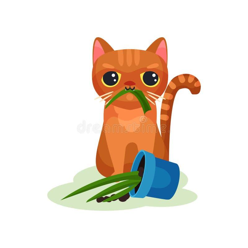 Planta traviesa de la casa de consumición del gatito, pequeño ejemplo lindo dañoso del vector del gato en un fondo blanco stock de ilustración