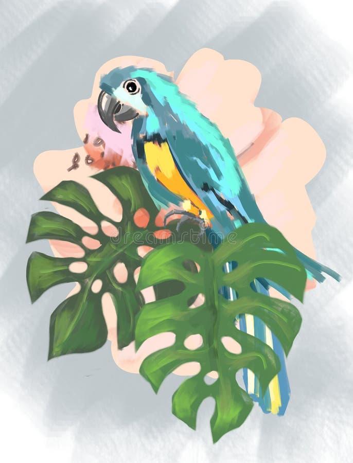 Planta tropical do teste padrão tropical e pássaro tropical no clima tropical, planta tropical do papagaio, pássaro, papagaio, fo ilustração do vetor