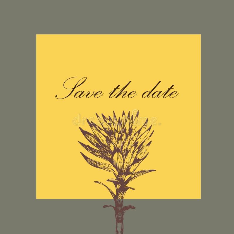 Planta verde do convite do casamento desenhado à mão imagens de stock royalty free