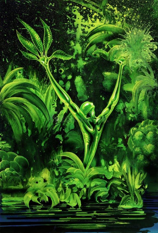 Planta verde surrealista stock de ilustración