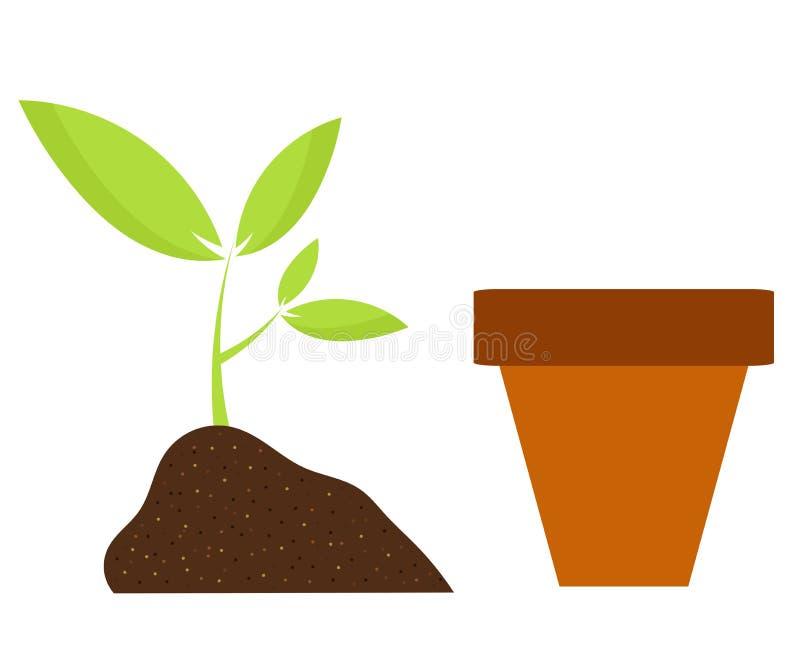Planta y crisol stock de ilustración