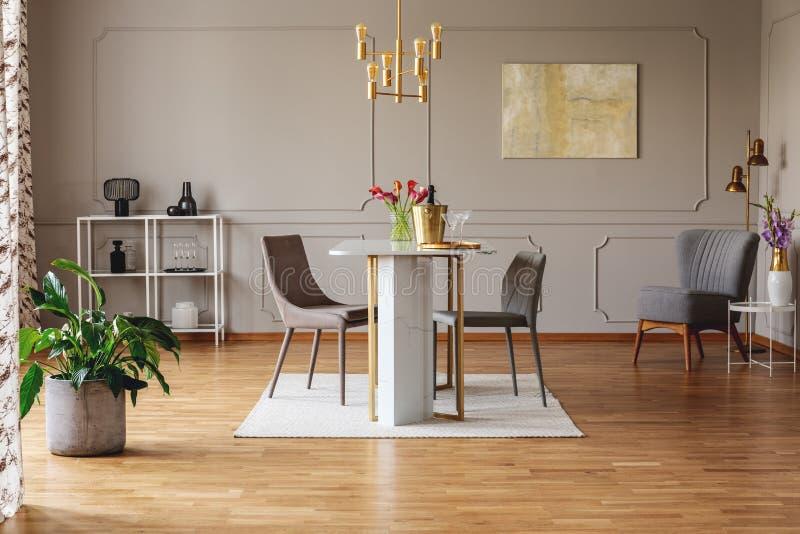 Planta y pintura en interior gris del espacio abierto con las sillas en la mesa de comedor debajo de la lámpara del oro Foto verd imagenes de archivo