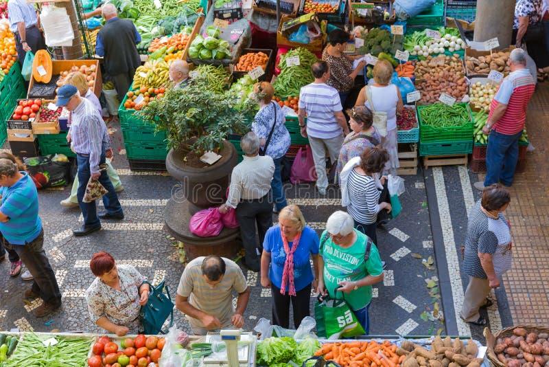 Plantaardig Dos Lavradores van markt beroemd Mercado van Funchal, Madera royalty-vrije stock foto's