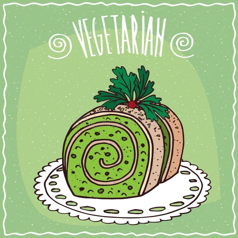 Plantaardig gevuld broodje met groen stock illustratie