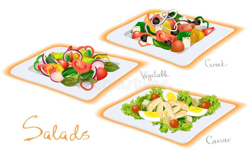 Plantaardig, Grieks, Caesar Salads vector illustratie