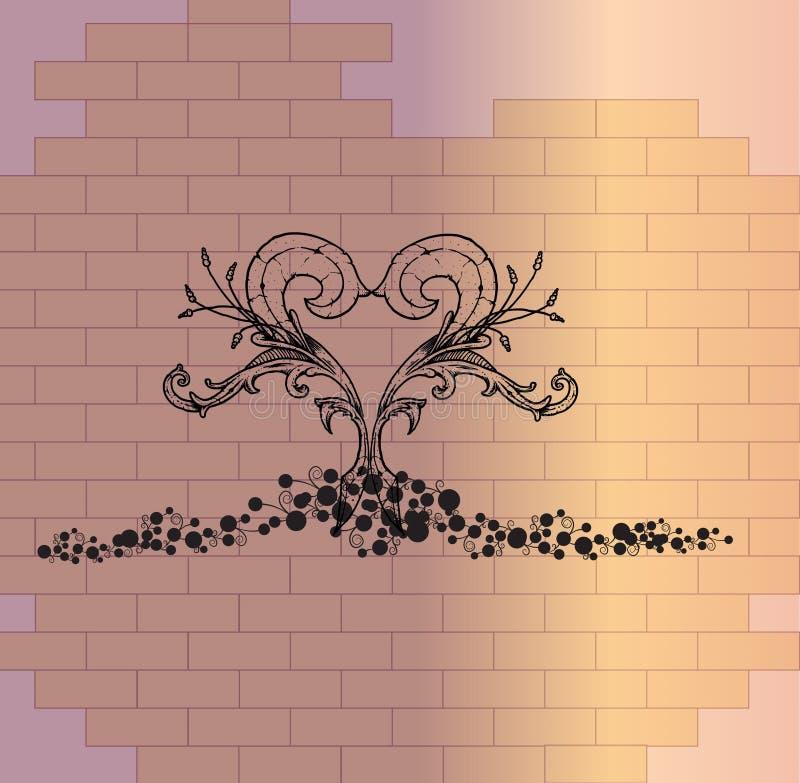 Plantaardig hart op een bakstenen muur vector illustratie