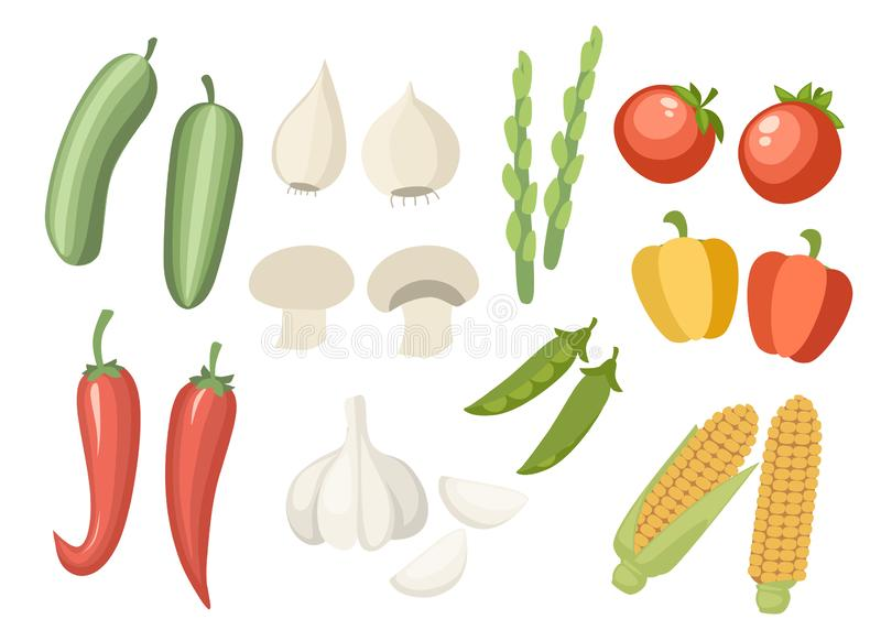 Plantaardig inzamelingspictogram Reeks van peper, knoflook, graan, groene erwt en enz. Landbouw en het ontwerp van het voedselpic vector illustratie