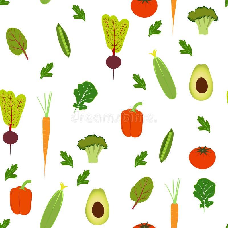 Plantaardig naadloos patroon Avocado, komkommer, paprika, tomaat, erwten, wortelen, bieten, broccoli Voor druk, behang, omslag vector illustratie