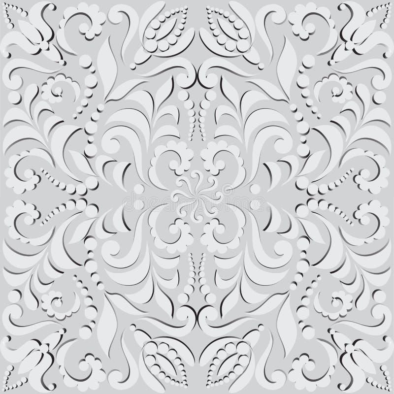 Plantaardig naadloos patroon in 3D Patroon voor ontwerpkaarten, muurtapijtwerk, vakantie en ceremonies stock illustratie