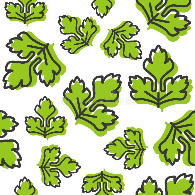 Plantaardig naadloos patroon, koriander of selderiebladoverzicht voor vector illustratie