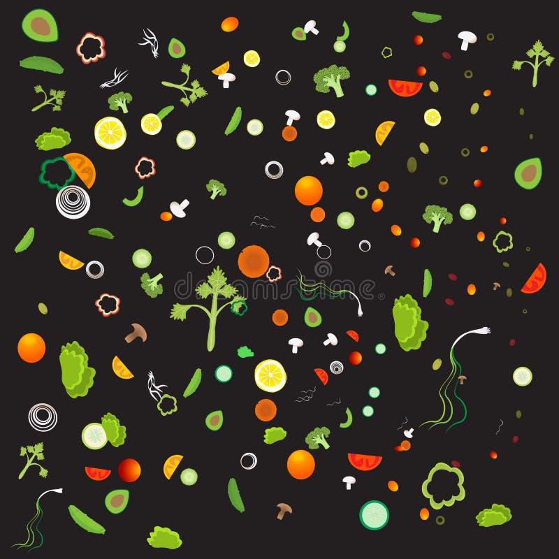 Plantaardig patroon met vegetarisch gezond voedsel stock illustratie