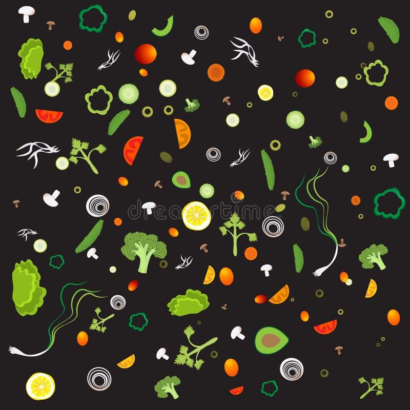 Plantaardig patroon met vegetarisch gezond voedsel vector illustratie