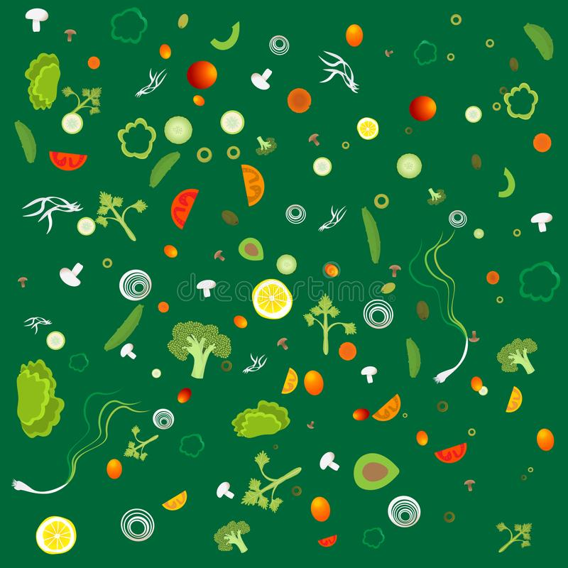 Plantaardig patroon met vegetarisch gezond voedsel royalty-vrije illustratie