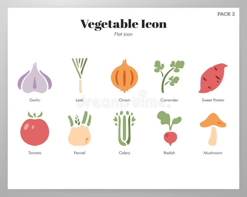 Plantaardig pictogrammen vlak pak vector illustratie