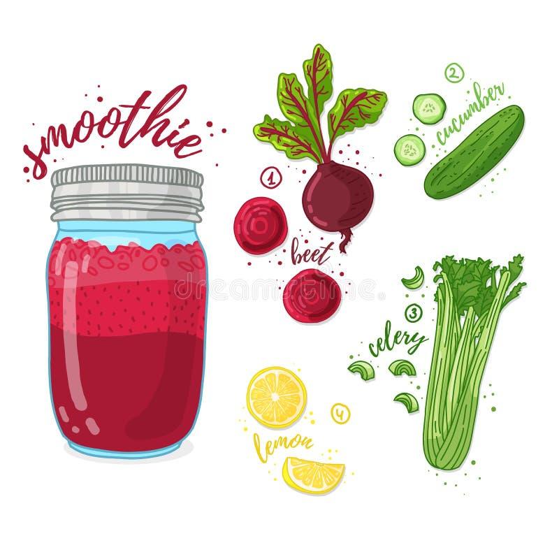 Plantaardige cocktail voor het gezonde leven Smoothies met biet, citroen, komkommer en selderie Recepten vegetarische organische  royalty-vrije illustratie