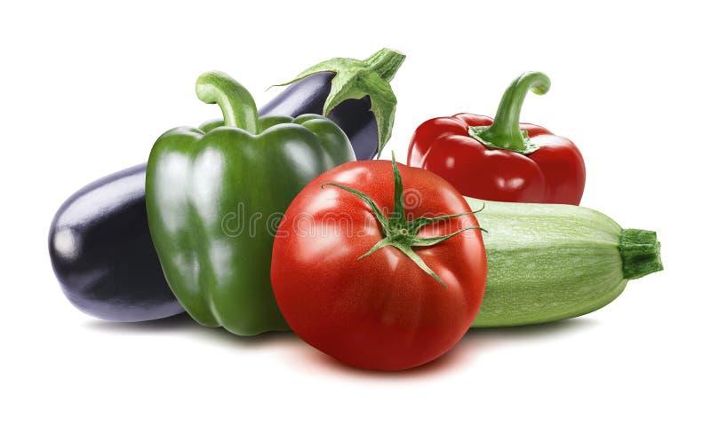Plantaardige die aubergine, pompoen, tomaat, courgette op witte B wordt geïsoleerd royalty-vrije stock foto's