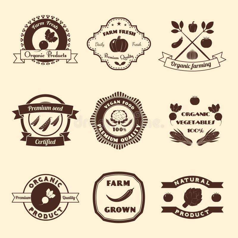 Plantaardige Etiketreeks stock illustratie