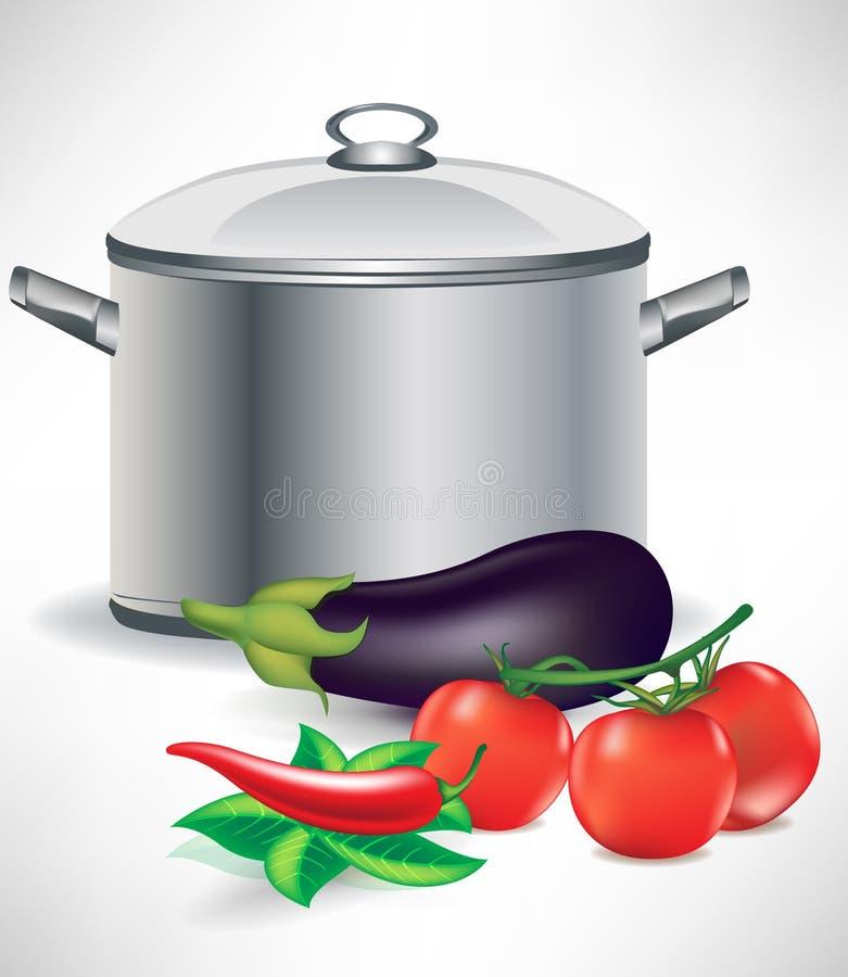 Plantaardige ingrediënten en soeppot vector illustratie