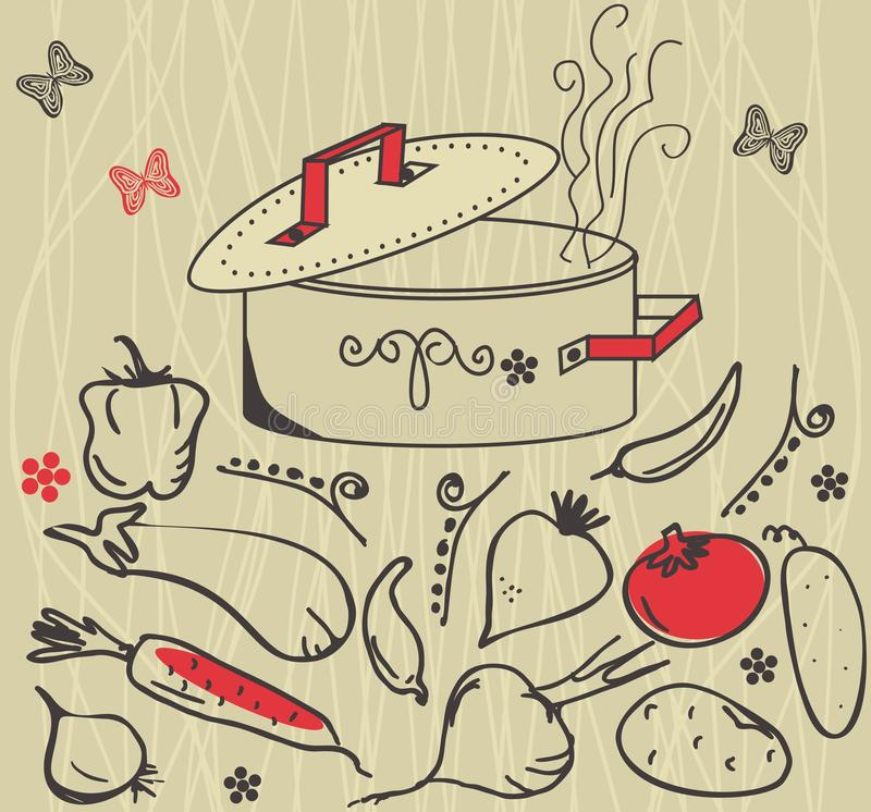 Plantaardige ingrediënten en soeppot stock illustratie