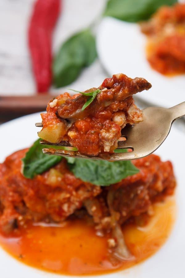 Plantaardige lasagna's stock foto