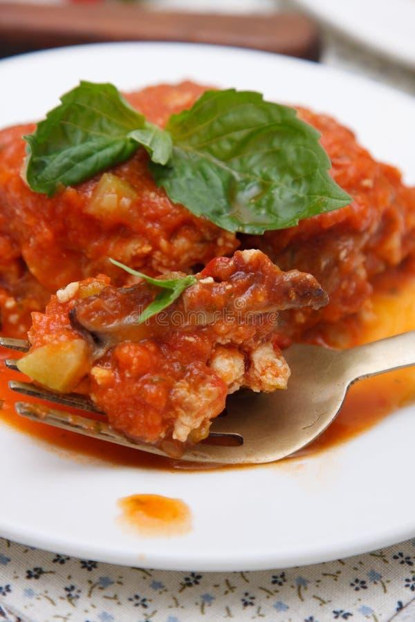 Plantaardige lasagna's royalty-vrije stock afbeeldingen