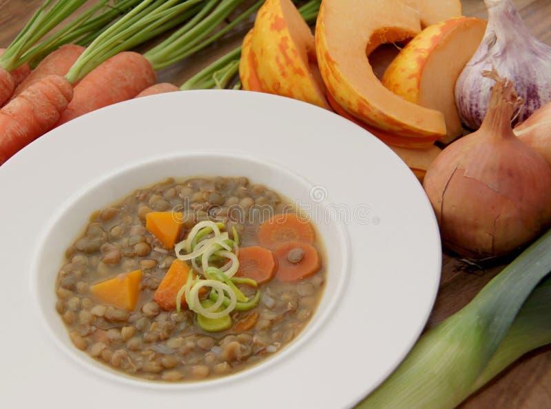 Plantaardige linzensoep met pompoen, wortelen, prei en andere ingrediënten royalty-vrije stock fotografie