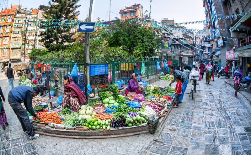 Plantaardige markt in Katmandu royalty-vrije stock foto's