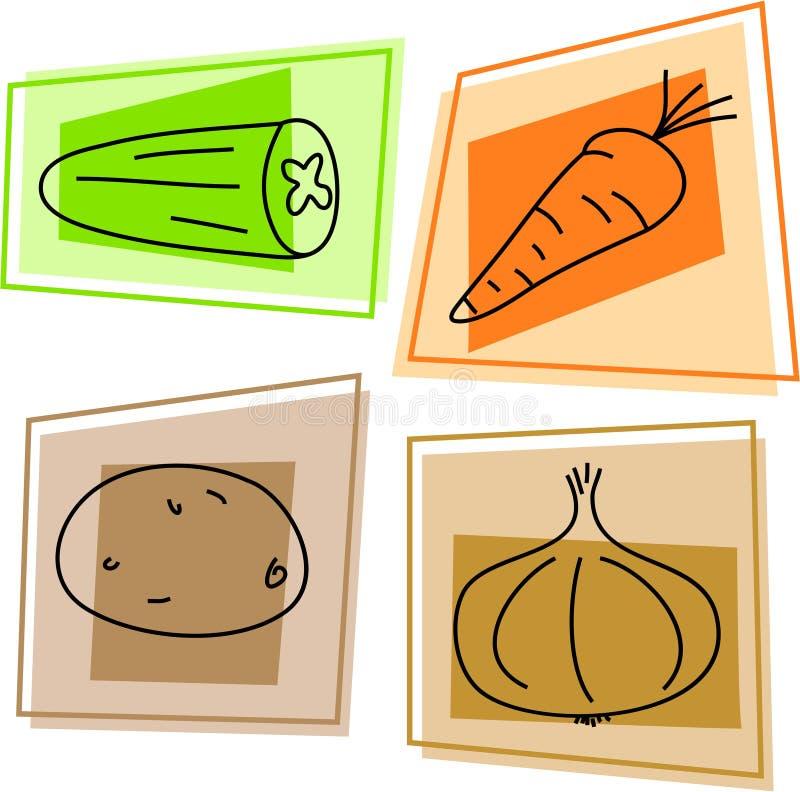 Plantaardige pictogrammen stock illustratie