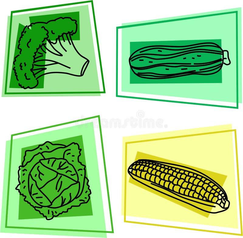 Plantaardige pictogrammen vector illustratie