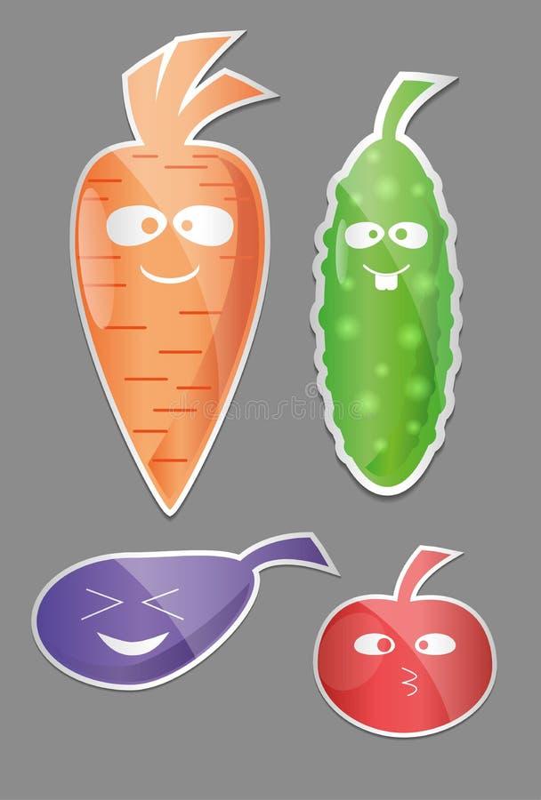 Plantaardige Pictogramreeks Etiketten met Groenten Wortel, komkommer, tomaat, aubergine Vlakke stijl vector illustratie