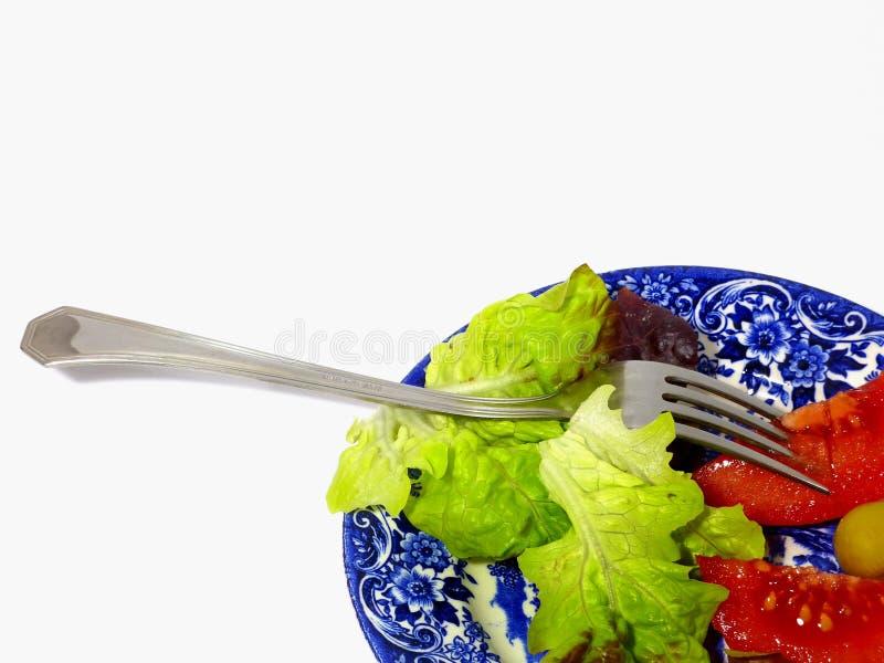 Plantaardige salade en schotel klaar te eten en vorkdetail royalty-vrije stock afbeelding