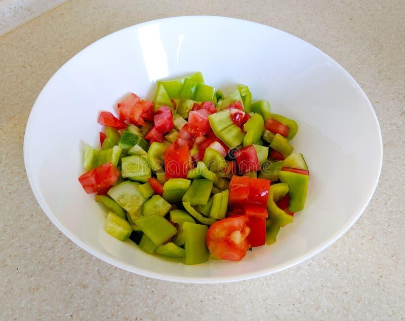 plantaardige salade met peper royalty-vrije stock foto