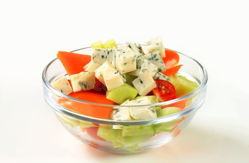 Plantaardige salade met schimmelkaas stock fotografie