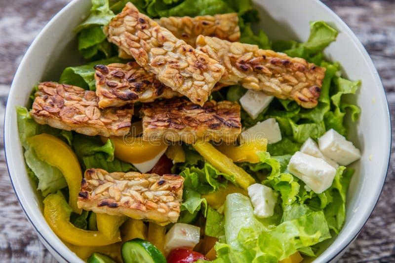 Plantaardige salade met tempe goreng, gebraden tempeh, het Eiland van Bali, Indonesië stock fotografie