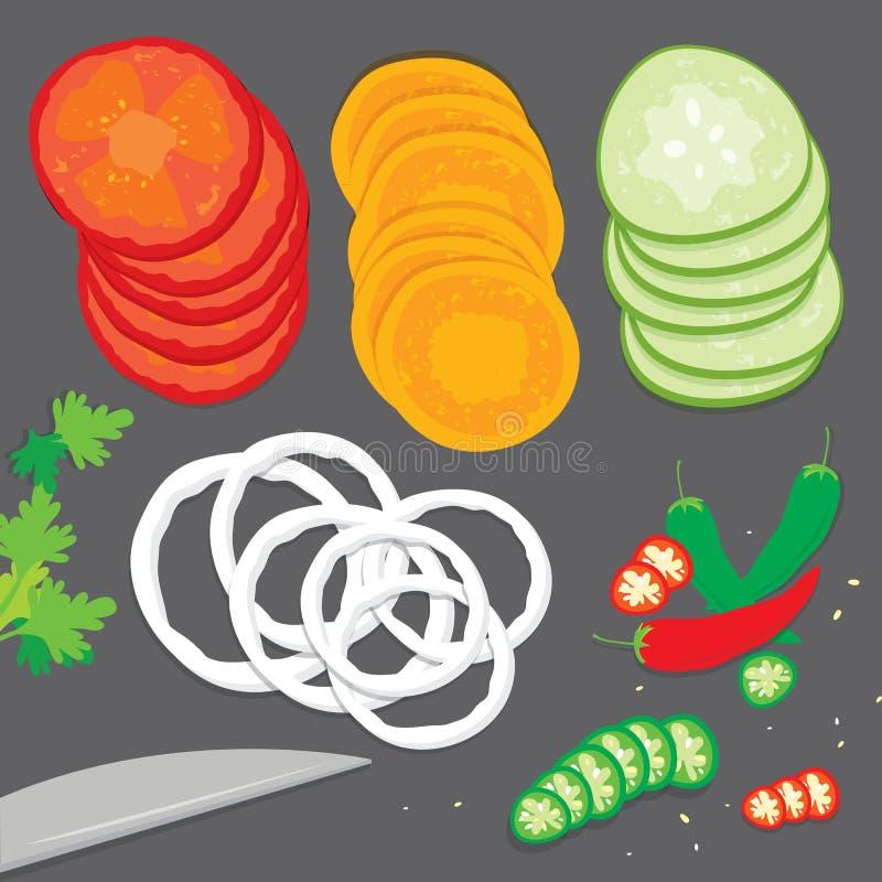 Plantaardige van de de tomatenui van de voedselkok van de de wortelspaanse peper van de de komkommerpeterselie van de het stukpla stock illustratie
