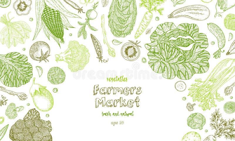 Plantaardige vectorsamenstelling met komkommer, tomaat, peper, aubergine, aardappel, erwten, wortel, broccoli Gezond voedsel vector illustratie