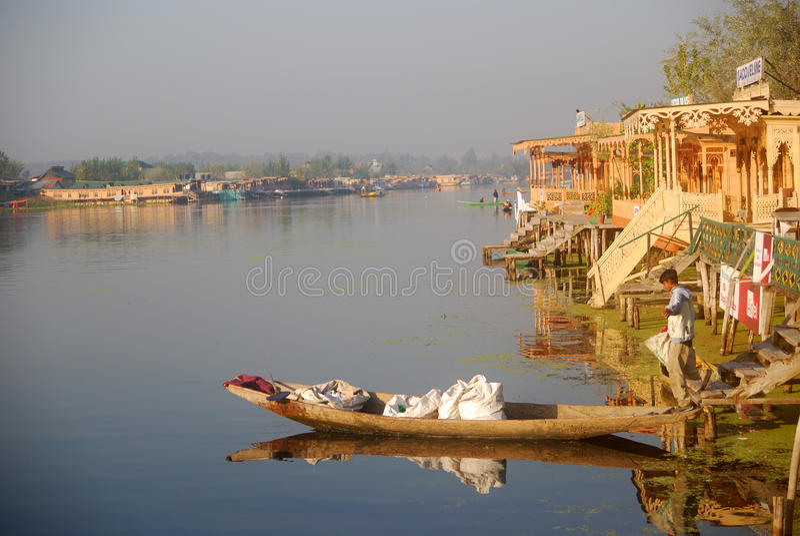Plantaardige verkoper, Srinagar, Kashmir, India royalty-vrije stock foto